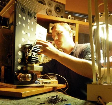 Chris Juried assembling a Tube Equipment Corporation SR-71 Compressor/Limiter