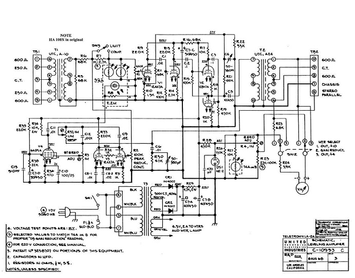 Teletronix LA-2A Leveling Amplifier Schematic