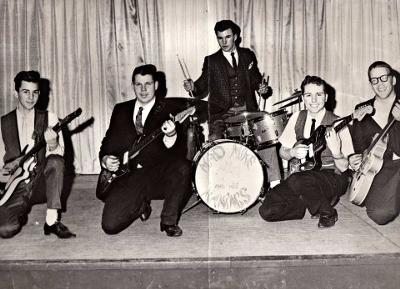 MAD MIKE & THE MANIACS - 1961. LEFT TO RIGHT: JIMMY LEUSCHNER, WARREN NICHOLS, BOBBY COLUMBE, SKIP JURIED,