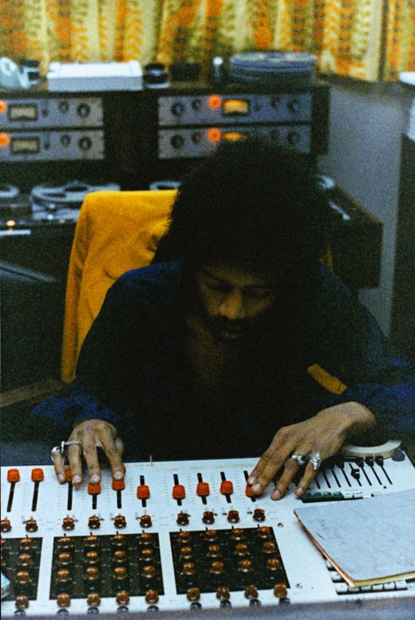 Jimi Hendrix at Electric Lady Land Studios with a Datamix Console and Scully 280 series Tape Machines