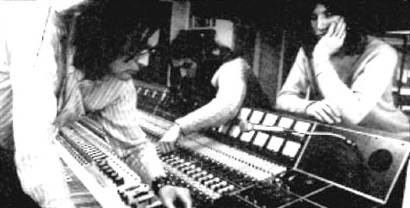 Pink Floyd recording Meddle at Air Studios in 1971- David Gilmour and Roger Waters are at the console