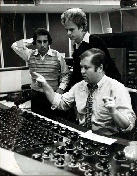 Roy Halee with Paul Simon and Art Garfunkel in the control room of Columbia's New York studio