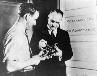 Les Flory and Vladimir Zworykin Examine an Experimental Iconoscope Tube.