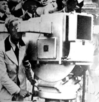 """Walter Bruch working for Telefunken at the """"television gun"""" in 1936 inside the Berlin Olympic Stadium during the Olympic Games."""